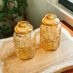 vintage | LE Smith Atterbury Amber Scroll Canister